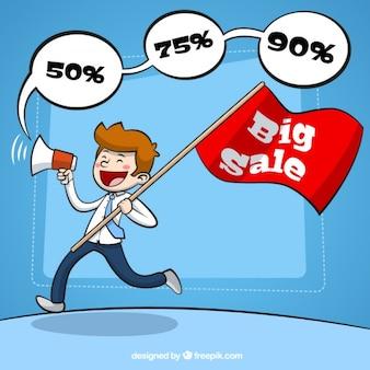 Человек с мегафоном объявляет большие продажи