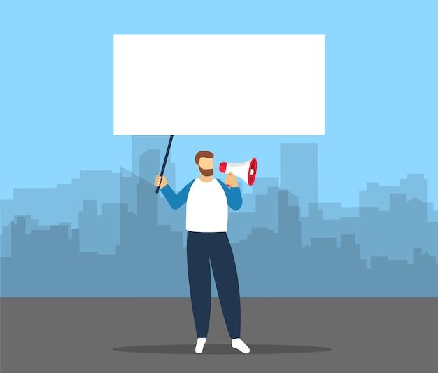 Человек с мегафоном в руке с пустым плакатом для текста. протест в городе.