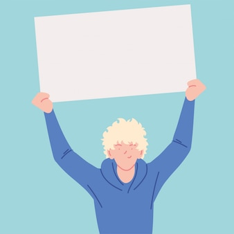 抗議のシンボル、白いプラカードを持つ男