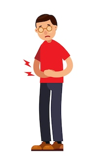 Man with abdominal stomach pain character