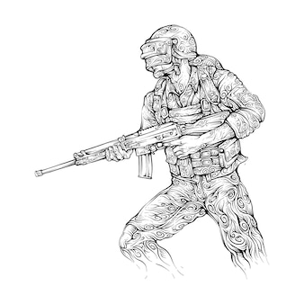 Man with assault rifle and helm in hand drawing curly style