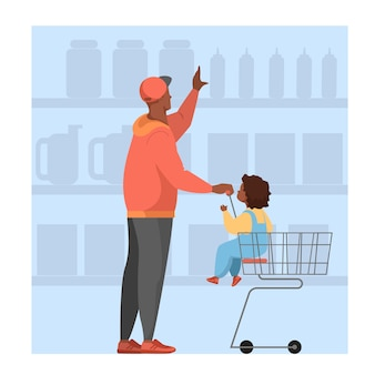 Man with a baby walking with shopping cart in supermarket. character bying food in the store.    illustration