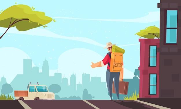バックパックとスーツケースのヒッチハイクと道路の漫画に沿って運転するトラックを持つ男