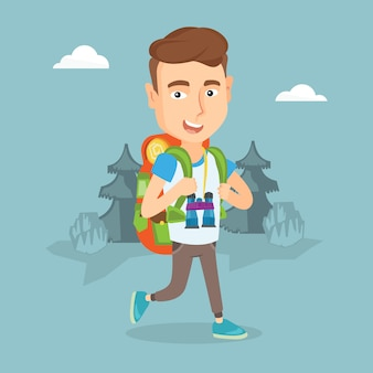 Man with backpack hiking vector illustration.