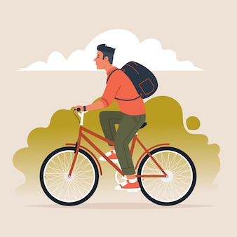 Man with a backpack behind his back rides a bicycle. active lifestyle. vector illustration in a flat style
