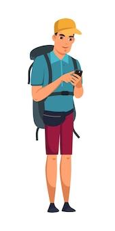 스마트폰 화면 고립 된 사람을 찾고 배낭 남자입니다. 관광 옷을 입은 남성 여행자