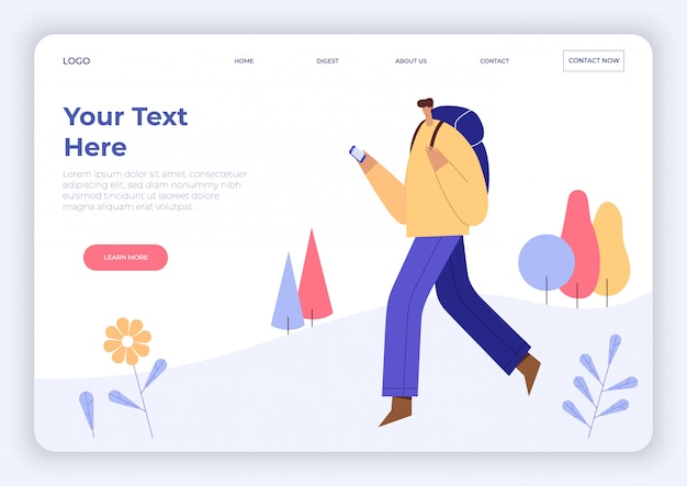 Man with backpack, looking at smartphone. cartoon traveler male character, tourist, hiking. landing page template. flat   illustration.