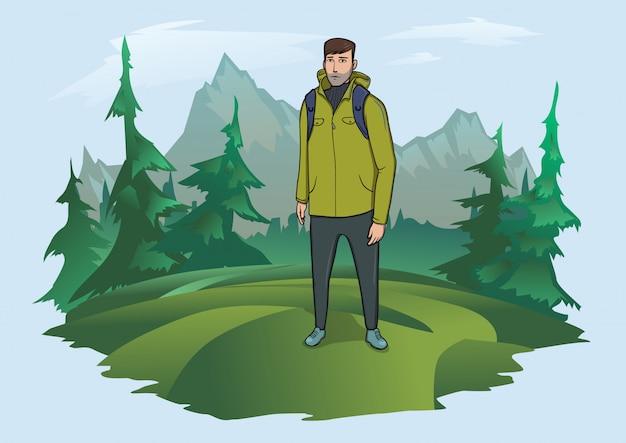 산 풍경의 배경에 배낭 남자. 산악 관광, 하이킹, 야외 활동 활동. 삽화.