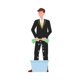 紙幣を洗う盗賊を持つ男