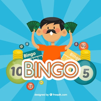 Man with banknotes bingo background