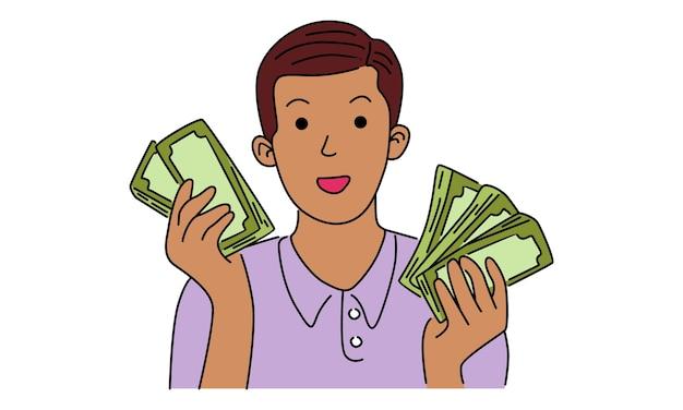 彼の手でお金の紙幣を持つ男