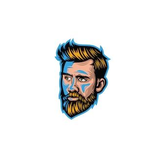 Man with beard in cartoon style