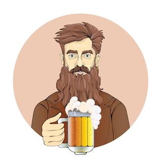 ビールジョッキを保持しているひげを持つ男。サークル、セピア色の男の肖像。図。白い背景の上