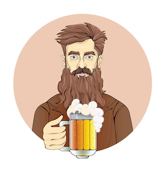 Man with beard holding a beer mug. portrait of a man in circle, sepia tint.   illustration.  on white background