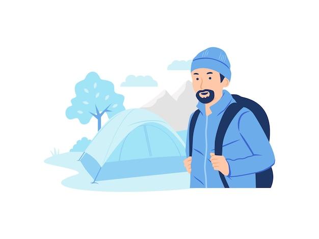ジャケットとビーニーを身に着けて、バックパックの概念図を運ぶ彼のテントの近くに立っているひげ登山家登山家またはハイカーを持つ男