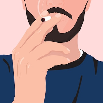 Man with a beard and mustache smoking cigarette. illustration.