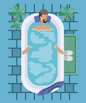 Man with beard taking a bath tub vector illustration design
