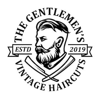 ひげを生やした、理髪店のアイコンロゴデザインを持つ男