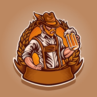 Man with beer mascot ilustration