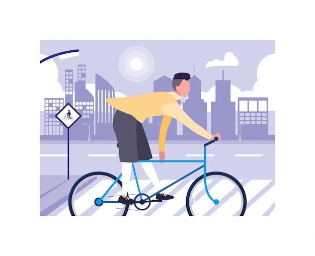 자전거를 가진 남자, 건강 한 라이프 스타일을 가진 남자