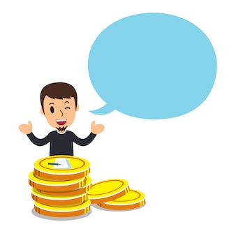 Man with big coin stack and speech bubble