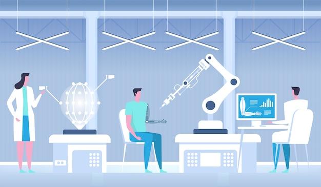 Человек с бионической рукой. искусственная рука. медицина будущего.