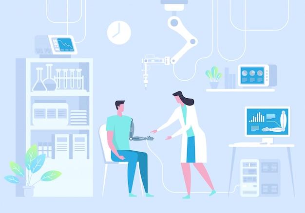 Человек с бионической рукой. искусственная рука. будущее лекарство.
