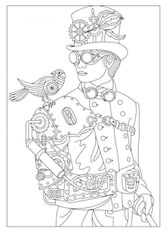 A man with a bird in the style of steampunk