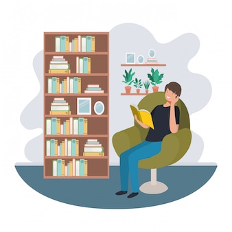 Man with book in livingroom avatar character