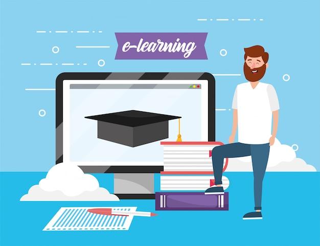 本の知識とコンピューターとタブレットを持つ男