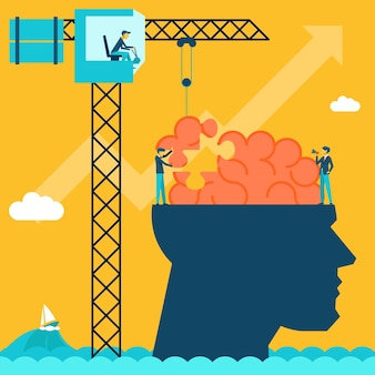 Man with brain puzzle illustration