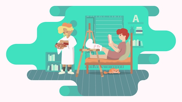 Man with broken leg in a cast. friend care in a modern interior. concept illustration of disabled people.