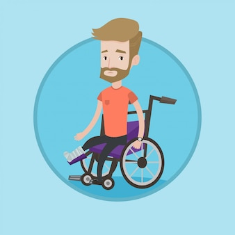 Человек со сломанной ногой, сидя в инвалидной коляске.
