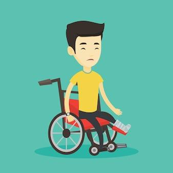 Man with broken leg sitting in wheelchair.
