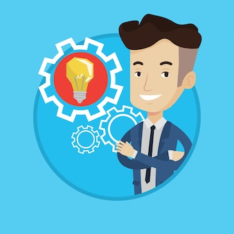 Man with business idea bulb in gear.