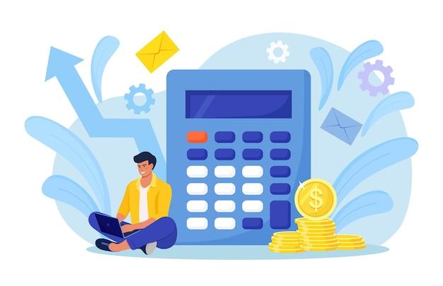 수학 연산을 위한 계산기를 가진 남자. 돈을 모으고 저축하는 사람, 예산, 자본 또는 예금 소득을 계산합니다. 저축 계좌 계산. 금융 및 경제