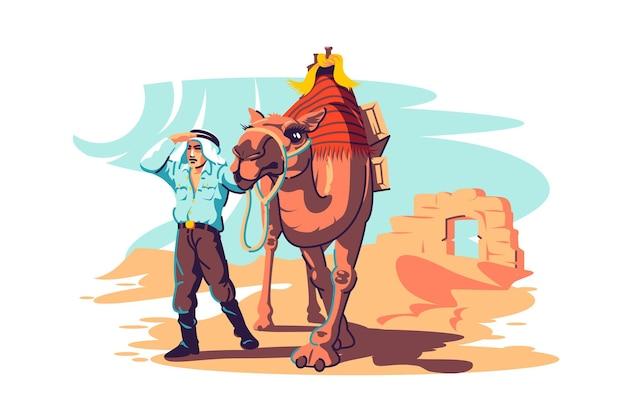 낙타와 남자 탐험 사막