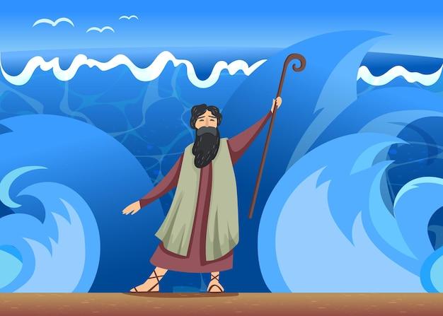 성난 바다의 파도 앞에 서 있는 지팡이를 든 남자. 만화 그림