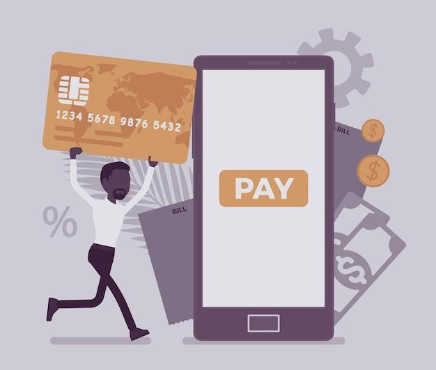 디지털 청구서와 모바일 결제를 만드는 카드를 가진 남자. 남성 소비자, 사업가는 스마트폰을 통해 온라인 상품, 제품, 지원, 서비스, 콘텐츠 비용을 지불합니다. 얼굴 없는 문자로 벡터 일러스트 레이 션