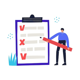 Man with the cheklist shows his schedule. business concept hand drawn vector illustration