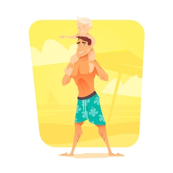A man with a child on the beach. summer vacation. the rest of the sea. a father and his son.  illustration.