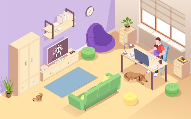 Man with child working at home. isometric view on living room with young father and kid at desk. male freelancer doing remote job using computer. freelance workspace interior. overwork