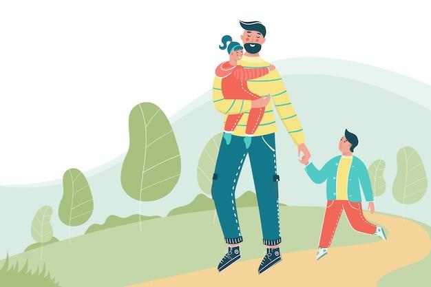 あなたのテキストのための場所で公園を歩いている子供を持つ男。一緒に楽しんでいる子供たちと幸せな父。