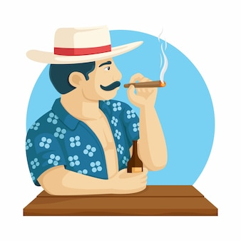 Man with cigarette and beer on hand. summer character vector illustration