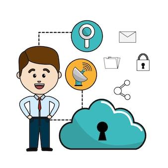 雲のデータwifiと技術のアイコンを持つ男