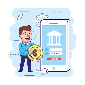 Man with coin and smartphone digital password