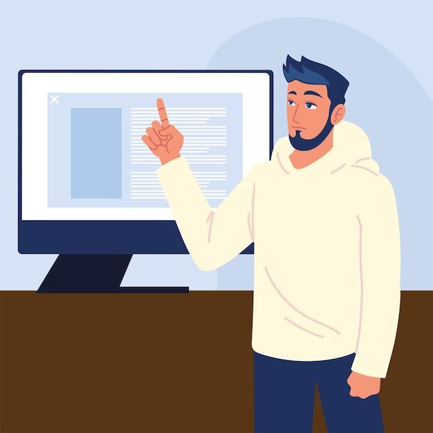 컴퓨터 및 웹 개발을 가진 남자