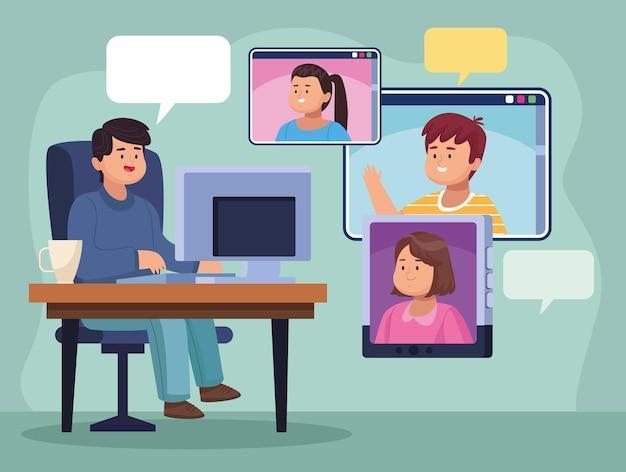 사무실에서 컴퓨터를 사용하는 남자와 화상 채팅을 하는 사람들