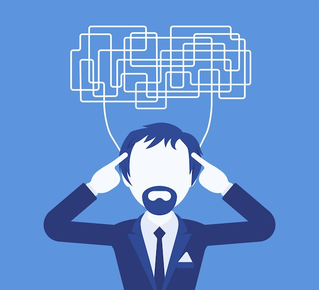 Man with confused thoughts unable to think clearly for decision. complicated and chaotic ideas in disorder, manager perplexed with tasks, head full of problems. vector illustration, faceless character