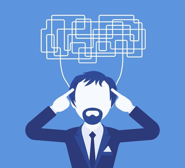 혼란스러운 생각을 가진 남자는 결정을 위해 명확하게 생각할 수 없습니다. 복잡하고 혼란스러운 생각이 무질서하고 관리자가 작업에 혼란스러워하며 머리가 문제로 가득 차 있습니다. 벡터 일러스트 레이 션, 얼굴 없는 캐릭터